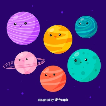 Collection of hand drawn planets with cute faces