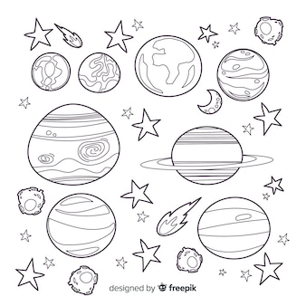 Collection of hand drawn planets