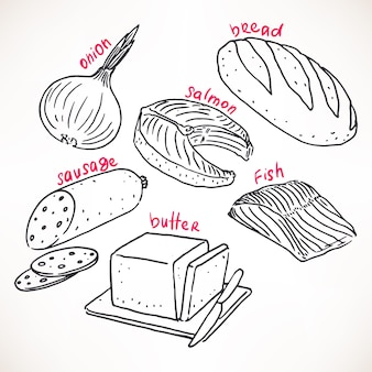 Collection of hand-drawn products. hand-drawn illustration. food icons