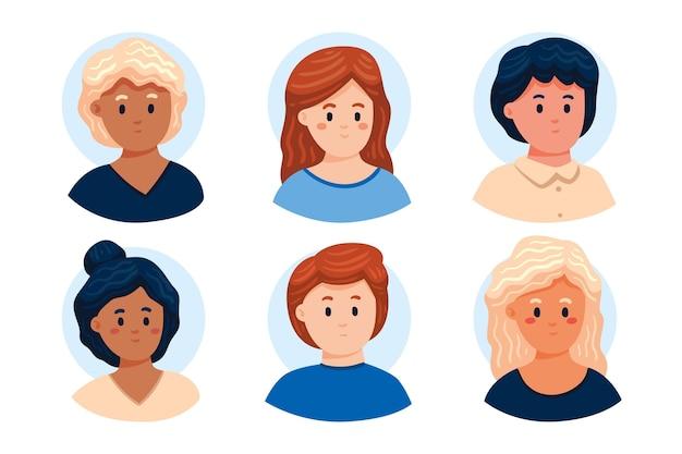 Collezione di icone del profilo disegnato a mano