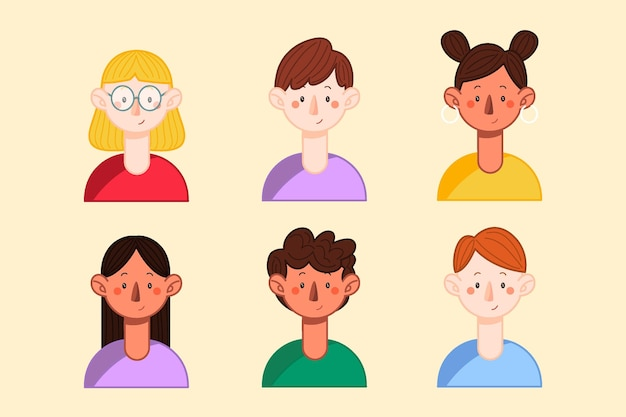 Collection of hand drawn profile icons of different people Free Vector