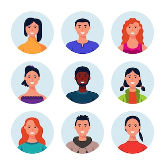 Collection of hand drawn profile icons of different people