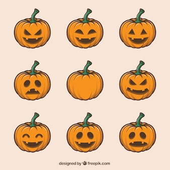 Collection of hand-drawn pumpkins