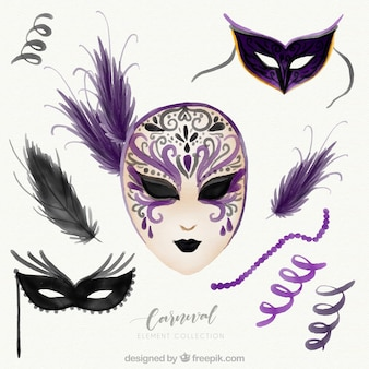 Collection of hand drawn purple carnival elements