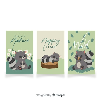 Collection of hand drawn raccoon cards