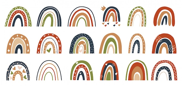 Collection of hand drawn rainbow element illustration in scandinavian style