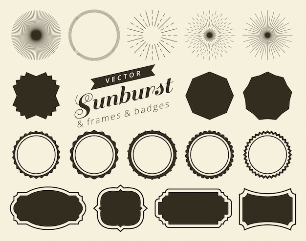 Collection of hand drawn retro sunburst