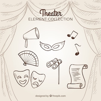 Collection of hand drawn retro theater elements