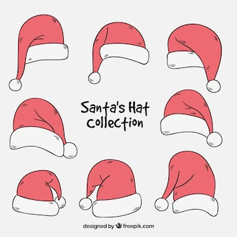 Collection of hand drawn santa claus caps