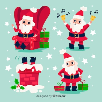 Collection of hand drawn santa claus character