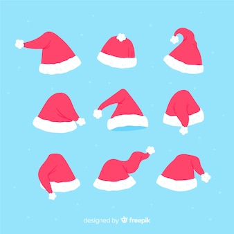 Collection of hand drawn santa hats