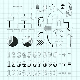 Collection of hand drawn school infographic elements