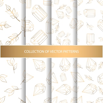 Collection of hand drawn seamless pattern with floral elements and diamonds