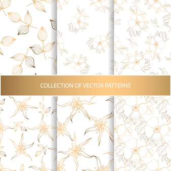 Collection of hand drawn seamless pattern with floral elements