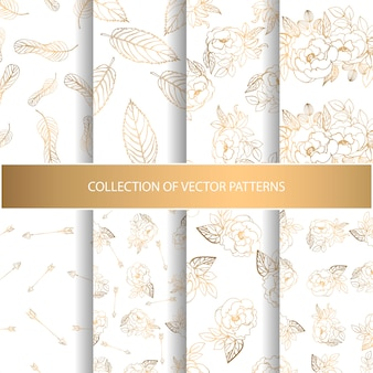 Collection of hand drawn seamless pattern