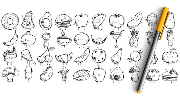 Collection of hand drawn sketches templates of various meal