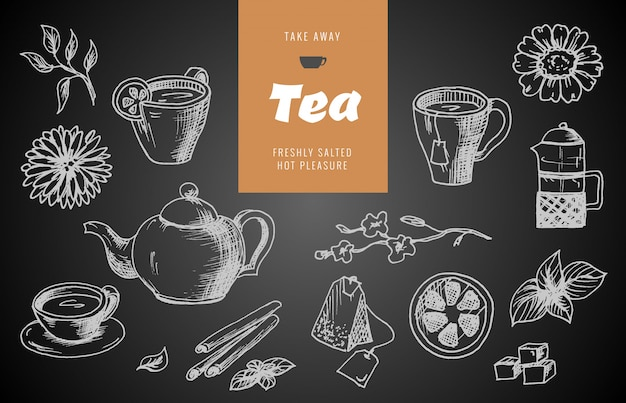 Collection of hand drawn sketches on the theme of tea.