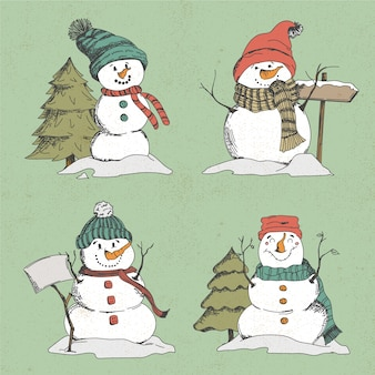 Collection of hand drawn snowman character