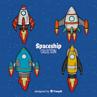 Collection of hand drawn spaceships