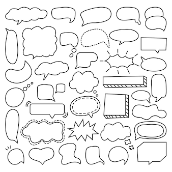 Collection of hand drawn speech bubble doodle illustration