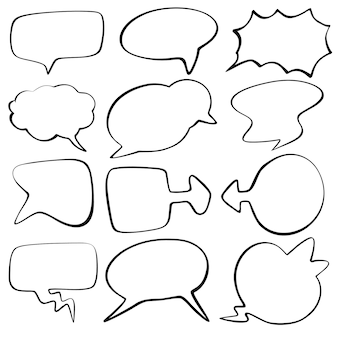 Collection of hand drawn speech bubbles vector design with comic style