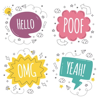 Collection of hand drawn speech bubbles