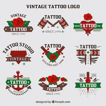 Collection of hand drawn tattoos logo