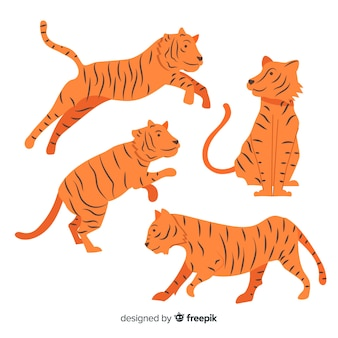 Collection of hand drawn tigers