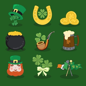 Collection of hand drawn traditional st. patrick's day elements