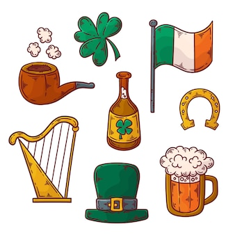 Collection of hand drawn traditional st. patrick's day elements Free Vector