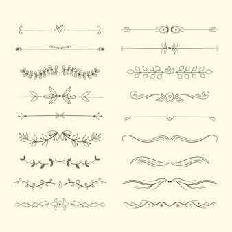Tipi di telaio e divisori disegnati a mano di raccolta