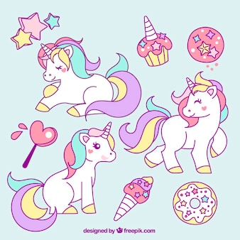 Collection of hand drawn unicorn with elements