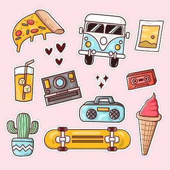 Collection hand drawn vacation vector