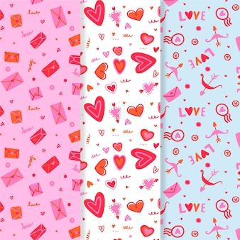 Collection of hand drawn valentine's day pattern
