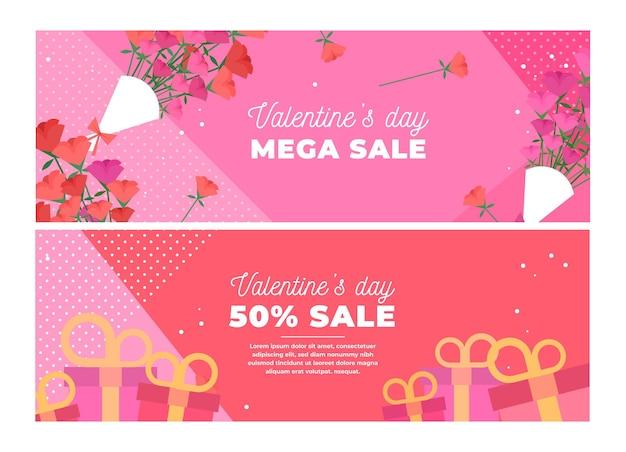 Raccolta di banner di vendita di san valentino disegnati a mano