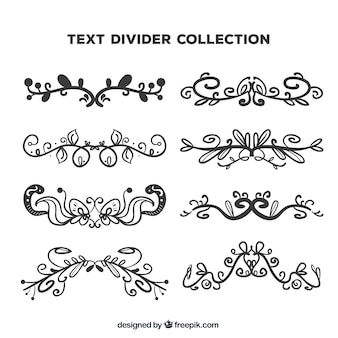 Collection of hand drawn victorian border