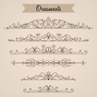 Collection of hand drawn vintage ornaments