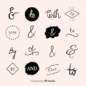 Collection of hand drawn wedding catchword