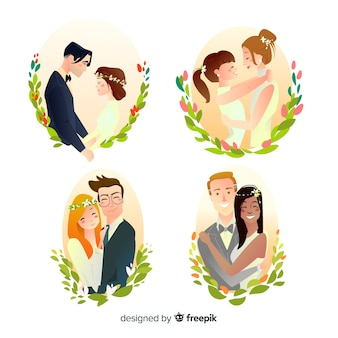 Collection of hand drawn wedding couple