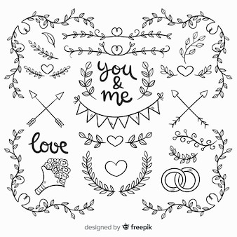 Collection of hand drawn wedding elements