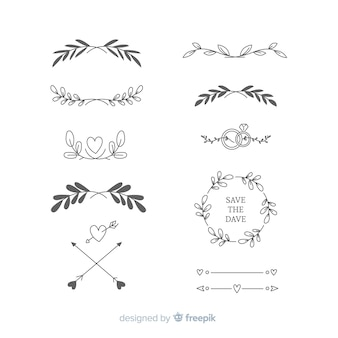 Collection of hand drawn wedding ornaments