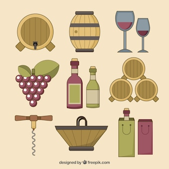 Collection of hand drawn wine elements Free Vector