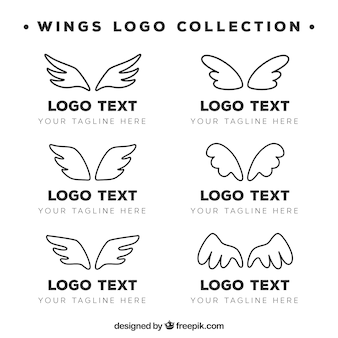 Collection of hand drawn wings logo