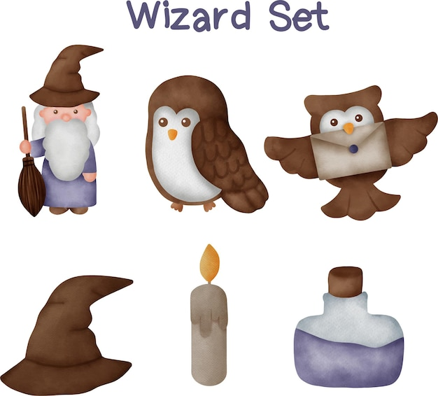 Collection of hand drawn wizard.