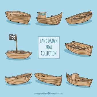 Collection of hand-drawn wooden boats