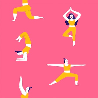 Collection of hand drawn yoga exercises poses for women.