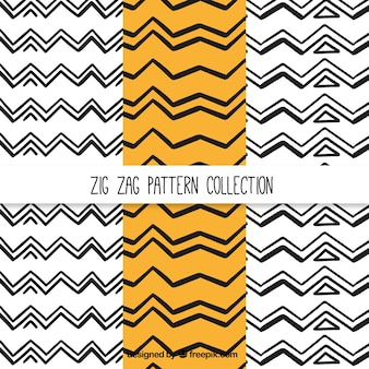 Collection of hand-drawn zig-zag patterns