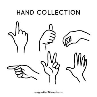 Collection of hand gesture sketches