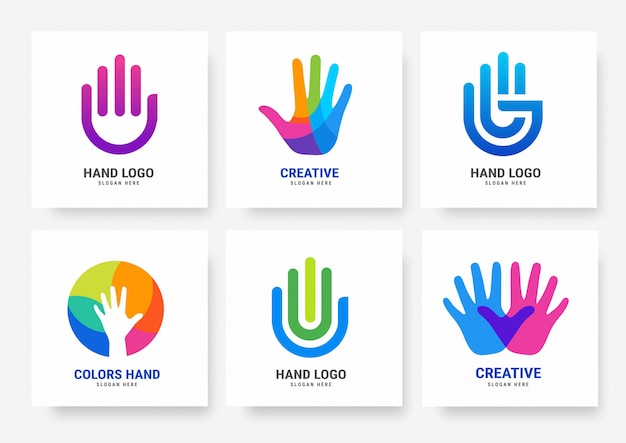 Collection of hand logo  templates
