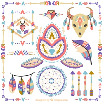Collection of hand painted boho elements of colors